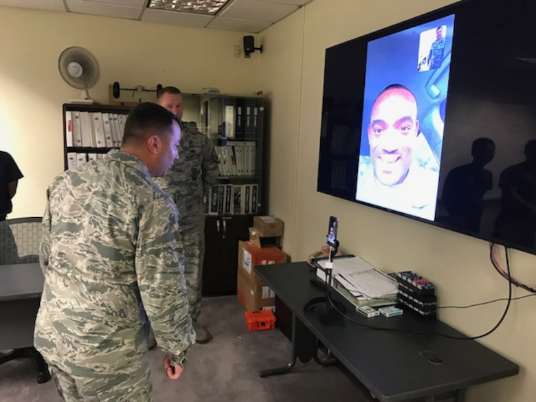 Col. William Betts, 51st Fighter Wing commander, speaks to Staff Sgt., Gregory Francois, formerly of the 51st Civil Engineer Squadron, and promotes him to the rank of technical sergeant through the Air Force's STEP (Stripes for Exceptional Performers)program via FaceTime from Osan Air Base, Republic of Korea, Sept. 27, 2018. The STEP program allows commanders at wing level or above to promote individuals they deem to be outstanding performers. (U.S. Air Force courtesy photo)