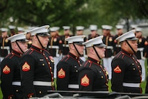 Marine Corps Body Bearers, Bravo Company, Marine Barracks Washington D.C., stand at attention during a full honors funeral for three formerly unaccounted for Vietnam veterans at Arlington National Cemetery, Arlington, Va., Sept. 27, 2018.