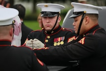 Marine Corps Body Bearers, Bravo Company, Marine Barracks Washington D.C., prepare to secure a casket during a full honors funeral for three formerly unaccounted for Vietnam veterans at Arlington National Cemetery, Arlington, Va., Sept. 27, 2018.