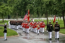 Marines with Marine Barracks Washington D.C. march in formation during a full honors funeral for three formerly unaccounted for Vietnam veterans at Arlington National Cemetery, Arlington, Va., Sept. 27, 2018.