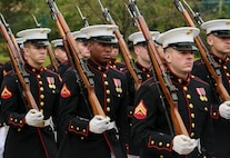 Marines with 2nd platoon, Bravo Company, Marine Barracks Washington D.C., march in formation during a full honors funeral for three formerly unaccounted for Vietnam veterans at Arlington National Cemetery, Arlington, Va., Sept. 27, 2018.