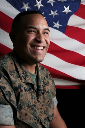 Lance Cpl. Joseph Arroyo poses for a photo aboard Marine Corps Air Station Beaufort, Sept. 26. Arroyo is an airfield operations Marine with Headquarters and Headquarters Squadron. Arroyo is a New Jersey native of Puerto Rican Decent.
