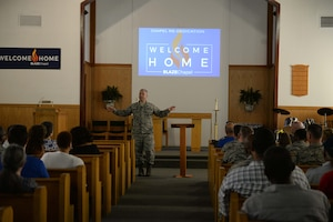 "Chaplain (Lt. Col.) Steven Richardson, 14 FTW wing chaplain,thanks people to the BLAZE Chapel re-opening ceremony Sept. 25, 2018, at Columbus Air Force Base, Mississippi. The Chapel team wants the BLAZE Chapel to feel like home and is a place for any person to come relax, worship, or reach out to talk with a chaplain; this is why their new theme is ""Welcome Home."" (U.S. Air Force photo by Airman Hannah Bean)"