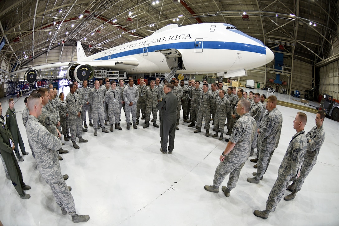 U.S Air Force Gen. Timothy Ray, Air Force Global Strike Command commander, meets with 595th Aircraft Maintenance Squadron members at Offutt Air Force Base, Nebraska Sept. 13, 2018. The maintainers work and fly on the E-4B aircraft which is a militarized version of the Boeing 747-200. It provides a highly-survivable, command, control and communications center to direct U.S. forces, execute emergency war orders and coordinate actions by civil authorities in case of national emergency. (U.S. Air Force photo by Drew Nystrom)