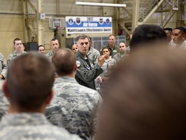 U.S. Air Force Gen. Timothy Ray, Air Force Global Strike Command commander, addresses 595th Aircraft Maintenance Squadron members at Offutt Air Force Base, Nebraska Sept. 13, 2018. The maintainers work and fly on the E-4B aircraft which is a militarized version of the Boeing 747-200. It provides a highly-survivable, command, control and communications center to direct U.S. forces, execute emergency war orders and coordinate actions by civil authorities in case of national emergency. (U.S. Air Force photo by Drew Nystrom)