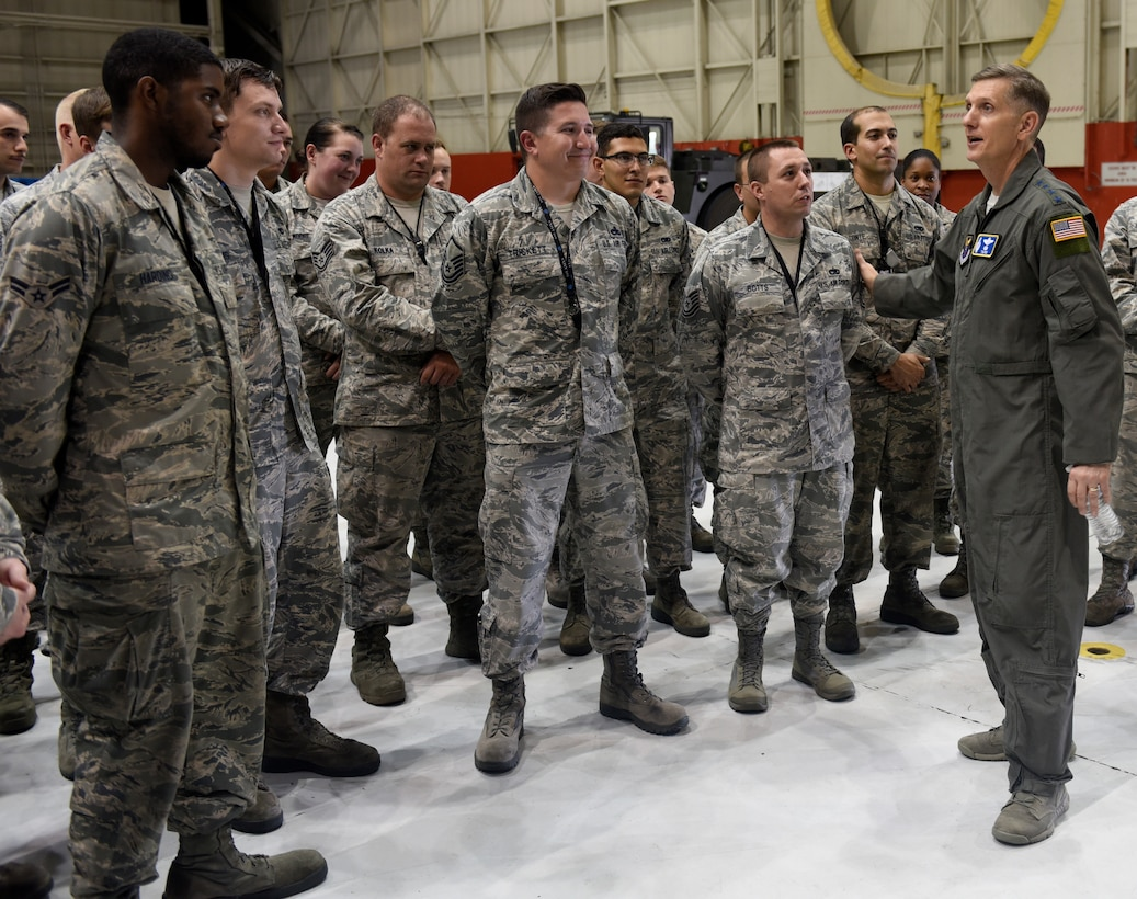U.S Air Force Gen. Timothy Ray, Air Force Global Strike Command commander, addresses a question posed by Tech. Sgt. Marc Botts, 595th Aircraft Maintenance Squadron debrief non-commissioned officer in charge, at Offutt Air Force Base, Nebraska Sept. 13, 2018. The maintainers work and fly on the E-4B aircraft which is a militarized version of the Boeing 747-200. It provides a highly-survivable, command, control and communications center to direct U.S. forces, execute emergency war orders and coordinate actions by civil authorities in case of national emergency. (U.S. Air Force photo by Drew Nystrom)