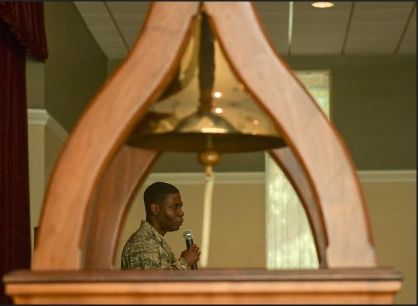 Col. Terrence Adams, Joint Base Charleston commander, speaks during the Bells Across America memorial ceremony Sept. 27, 2018, at Joint Base Charleston, S.C. The ceremony is an annual U.S. military tradition held across the country to honor and commemorate fallen service members. During the ceremony, a bell is rung after each service member's name is read.