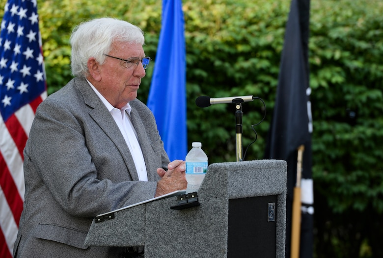 Retired Air Force Col. Henry Fowler Jr. recounts some of his experiences as a prisoner of war during a POW/MIA Recognition Day wreath laying ceremony at Wright-Patterson Air Force Base Sept. 21, 2018. Fowler spent 2,157 days in captivity after being forced to eject from his F-4 aircraft on March 26, 1967, over North Vietnam. (U.S. Air Force photo/Wesley Farnsworth)