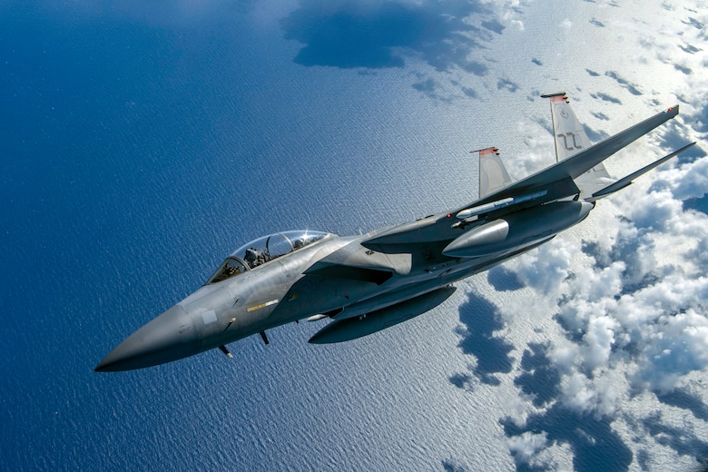 A U.S. Air Force F-15D Eagle flies above the Mariana Islands in support of exercise Valiant Shield, Sept. 18, 2018. The exercise helps enable real-world proficiency in sustaining joint forces through detecting, locating, tracking and engaging units at sea, in the air, on land, and in cyberspace in response to a range of mission areas. (U.S. Air Force photo by Senior Airman Zachary Bumpus)