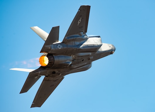 "U.S. Air Force Capt. Andrew ""Dojo"" Olson, F-35 Heritage Flight Team pilot and commander, performs a tactical pitch maneuver in an F-35A Lightning II during the California Capital Airshow, Sept. 23, 2018, in Sacramento, Calif. During the performance, Olson performed numerous aerial maneuvers showcasing the F-35s raw power and maneuverability. (U.S. Air Force photo by Senior Airman Alexander Cook)"