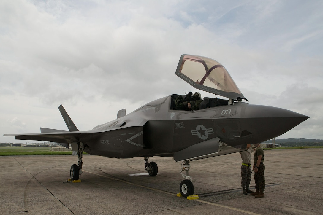 An F-35 aircraft sits on the tarmac in Japan.