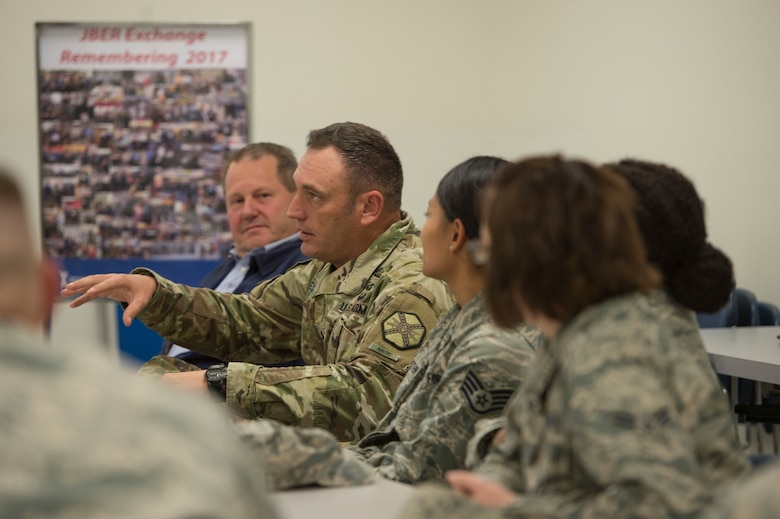 Service members were educated on the AAFES mission and addressed any issues or concerns during the meeting hosted by the Army and Air Force Exchange Services Senior Enlisted Advisor Chief Master Sgt. Luis Reyes.