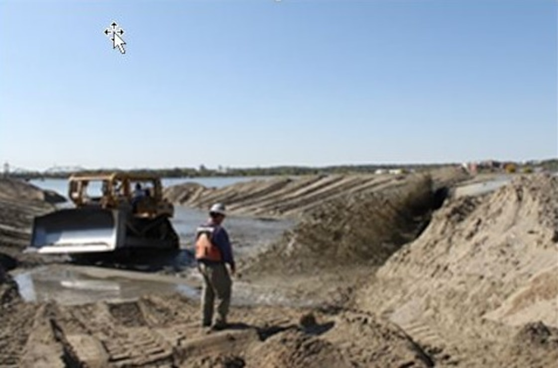 Dredge material placement in Pool 16 on the Mississippi River.