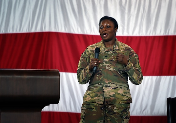 Lt. Col. Redahlia Person, 723d Aircraft Maintenance Squadron commander, shares a personal story during a suicide awareness and prevention briefing, Sept. 28, 2018, Moody Air Force Base, Ga