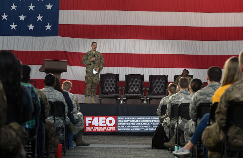 Staff Sgt. Trent Banwart, 723d Aircraft Maintenance Squadron crew chief, shares a personal story during a suicide awareness and prevention briefing, Sept. 28, 2018, Moody Air Force Base, Ga.