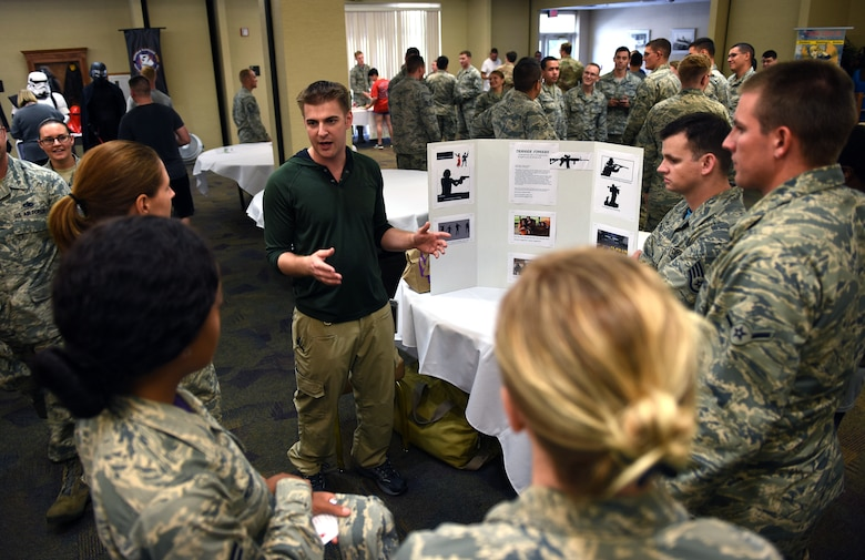 Airmen from the 23d Wing participate in a Club Information Activity event during a Comprehensive Airmen Fitness Day, Sept. 28, 2018, at Moody Air Force Base, Ga.