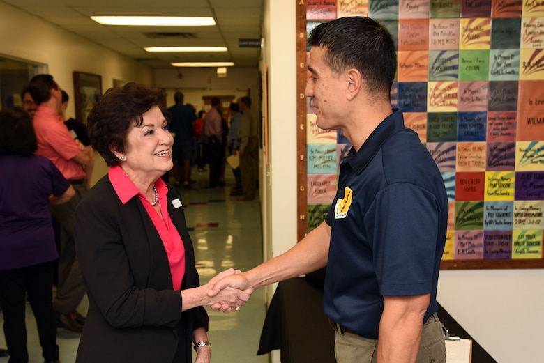 Meals for the Elderly President and CEO, Charlyn Ocker, meets with U.S. Air Force Col. Ricky Mills, 17th Training Wing commander, at the Meals for the Elderly building in San Angelo, Texas, Sept. 27, 2018. Mills volunteered to try to raise awareness for the program. (U.S. Air Force photo by Staff Sgt. Joshua Edwards/Released)