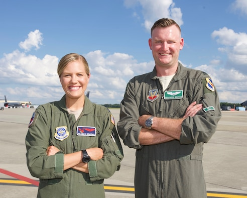 Capt. Meagan Bowman, an instructor pilot with the 911th Air Refueling Squadron and Capt. Harwood Bowman, a fighter pilot with the 4th Fighter Wing,