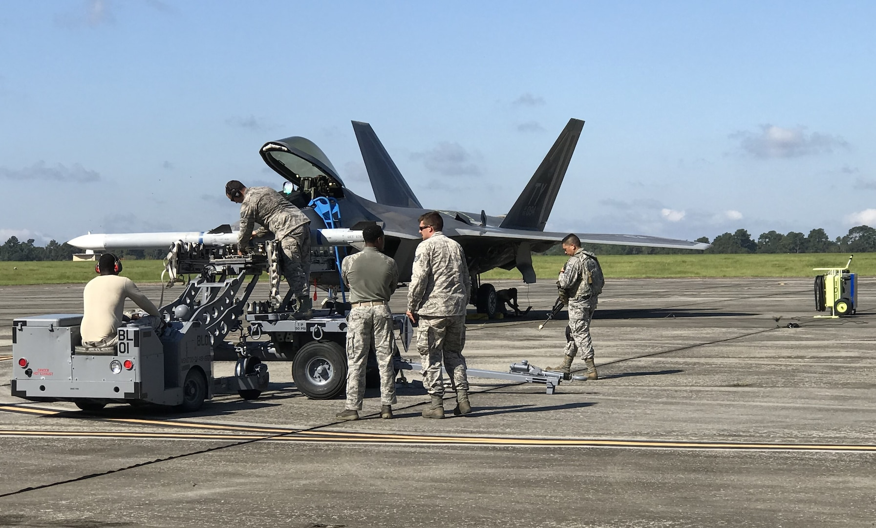 Airmen prepare simulated munitions during the Combat Support Wing exercise at Moody Air Force Base, Georgia, on 18 September.
