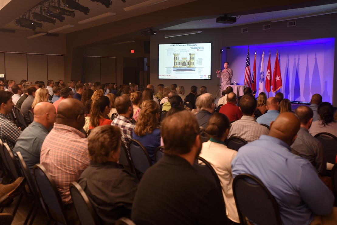 Maj. Gen. Mark Toy, U.S. Army Corps of Engineers Great Lakes and Ohio River Division commander, addresses command philosophies during a town meeting with Nashville District employees Sept. 25, 2018 in Nashville, Tenn. (USACE Photo by Lee Roberts)