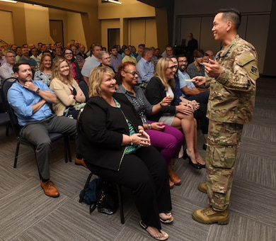 Maj. Gen. Mark Toy, U.S. Army Corps of Engineers Great Lakes and Ohio River Division commander, addresses workforce readiness and taking care of people during a town meeting with Nashville District employees Sept. 25, 2018 in Nashville, Tenn. (USACE Photo by Lee Roberts)