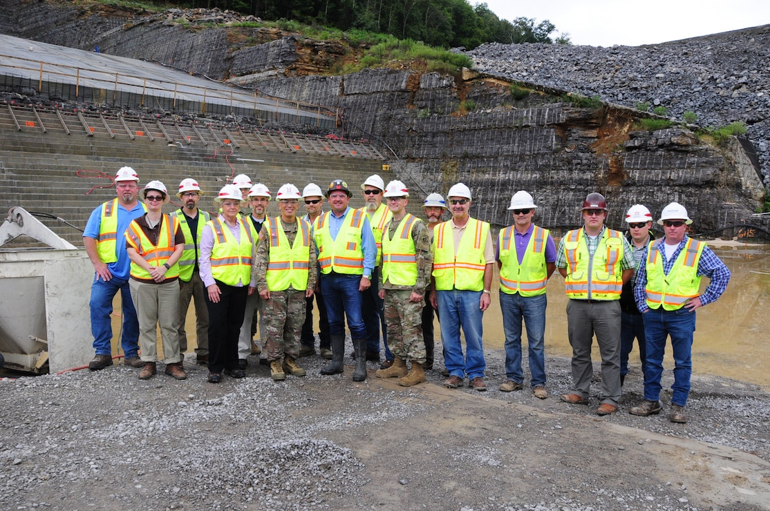 Maj. Gen. Mark Toy (Center), U.S. Army Corps of Engineers Great Lakes and Ohio River Division commander, poses with Nashville District employees and Thalle construction employees at the Center Hill Dam saddle dam in Silver Point, Tennessee Sept. 27, 2018.  (USACE photo by Mark Rankin)