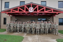 Maj. Gen. Mark Toy, Great Lakes and Ohio River Division commander, poses with engineering officers with the 39th Brigade Engineer Battalion at Fort Campbell, Ky., Sept. 27, 2018. (USACE photo by Mark Rankin)
