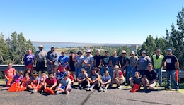 SANTA ROSA LAKE, N.M. – Some of the volunteers who came out on National Public Lands Day, Sept. 22, 2018, to assist with shoreline and campground litter pickup.