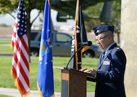 Chaplin (Maj.) Jason Kim, Deputy Wing Chaplin, speaks at the Prisoner of War/Missing in Action ceremony at Freedom Park on Nellis Air Force Base, Nev., Sept. 21, 2018.  Kim commissioned as a chaplain in 2003 so he could help Airmen and their families as they progressed through their Air Force careers. (U.S. Air Force photo by Airman 1st Class Bryan T. Guthrie)
