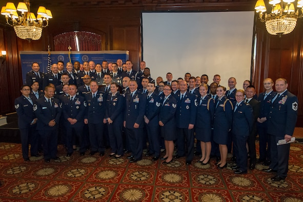 Attendees of The 71st Birthday of the U.S. Air Force ceremony presented by the Armed Services Council pose for a photo with Air Force Chief of Staff Gen. David L. Goldfein at The Union League of Philadelphia, Philadelphia, September 27, 2018. During the ceremony, Goldfein spoke to an audience of military and civilian personnel about the importance of the Air Force mission both inside and outside the continental U.S.