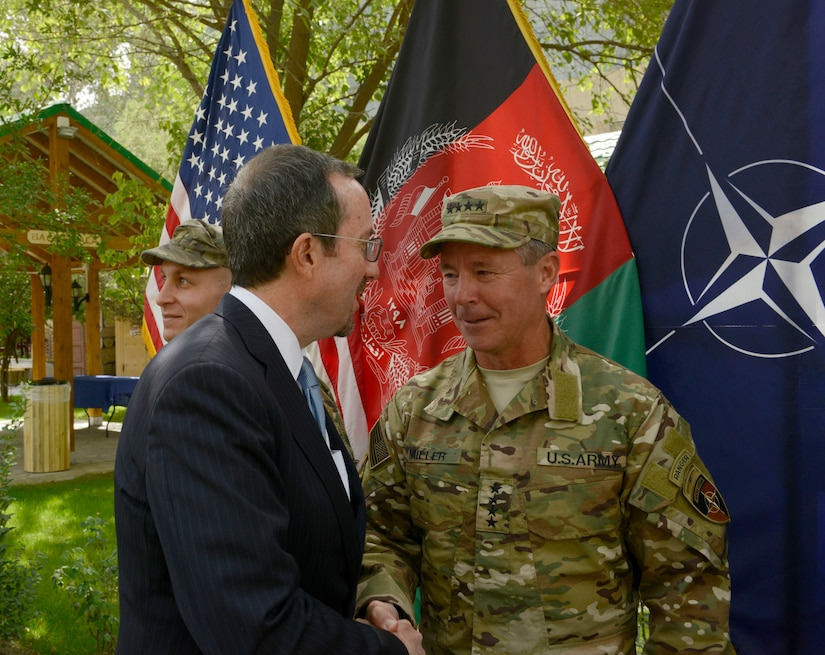 Ambassador welcomes general to Afghanistan.