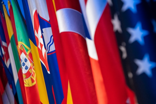The flags of NATO are on display during a meeting of the organization's chiefs of defense in Warsaw, Poland, Sept. 29, 2018. DOD photo by Navy Petty Officer 1st Class Dominique A. Pineiro