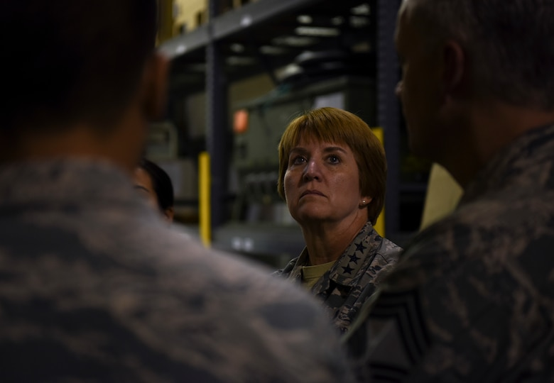 U.S. Air Force Lt. Gen. Dorothy Hogg, Air Force Surgeon General, inspects a war reserve material warehouse at Kunsan Air Base, Republic of Korea, Sept. 25, 2018. Gen. Hogg and Chief Master Sgt. George Cum, the Medical Enlisted Chief, met with Airmen of the medical group and received a brief on the capabilities and support provided to the 8th Fighter Wing and its mission. (U.S. Air Force photo by Senior Airman Savannah L. Waters)