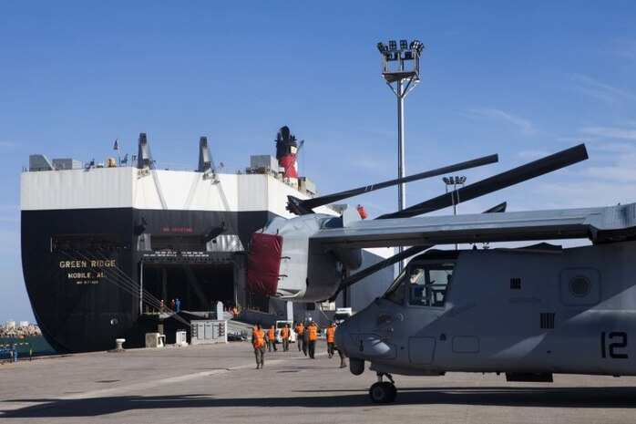 A U.S. Marine Corps MV-22B Osprey is unloaded from the MV Green Ridge March 29, 2019, at Naval Station Rota, Spain. The aircraft were delivered in support of Special Purpose Marine Air-Ground Task Force-Crisis Response-Africa 19.2 as they prepare to take authority of SPMAGTF-CR-AF from 19.1 for operations within the area of responsibility. The MV-22 increases SPMAGTF-CR-AF's operational reach and can swiftly project U.S. Marine combat power to emerging crises. The aircraft is with Marine Medium Tiltrotor Squadron 261, SPMAGTF-CR-AF 19.2, Marine Forces Europe and Africa.
