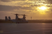 A U.S. Marine Corps MV-22B Osprey taxis at Morón Air Base, Spain, March 29, 2019. The aircraft, from Marine Medium Tiltrotor Squadron 261, will serve as the aviation combat element for Special Purpose Marine Air-Ground Task Force-Crisis Response-Africa 19.2, Marine Forces Europe and Africa, as they prepare to take authority from 19.1 for operations within the area of responsibility.  SPMAGTF-CR-AF is deployed to conduct crisis-response and theater-security operations in Africa and promote regional stability by conducting military-to-military training exercises throughout Europe and Africa.