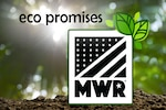 Sunlight coming through greenery with a pile of dirt up close and the MWR logo on top with the words Eco Promises