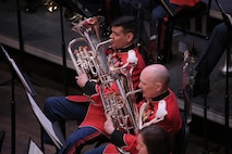 """On March 31, 2019, """"The President's Own"""" U.S. Marine Band presented a concert titled """"Song and Dance"""" at the Rachel M. Schlesinger Concert Hall and Arts Center at Northern Virginia Community College in Alexandria, Va. The concert featured euphonium player Peyton Sills, the winner of the Marine Band's Concerto Competition for High School Musicians."""