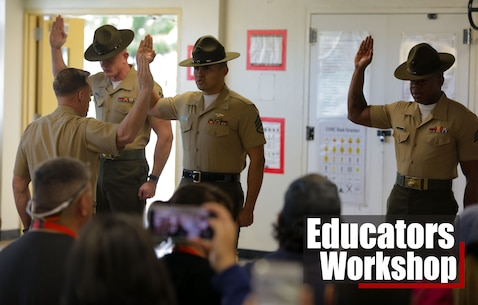 U.S. Marine Corps drill instructors with support battalion provide a mock pick up for educators from the Denver and Albuquerque areas.