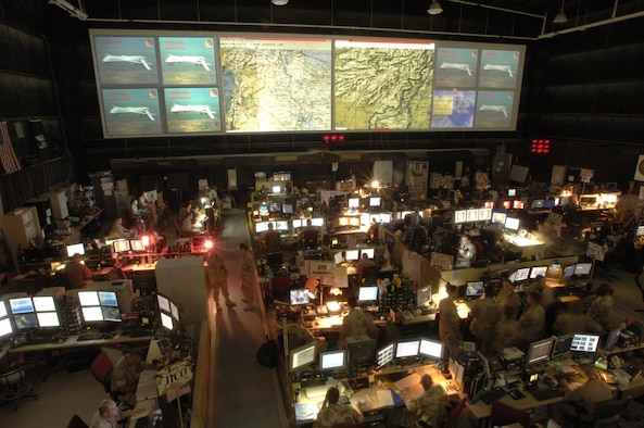 The Combined Air Operations Center (CAOC) during Operation Iraqi Freedom, Prince Sultan Air Base, Kingdom of Saudi Arabia, 30 Mar 2003.