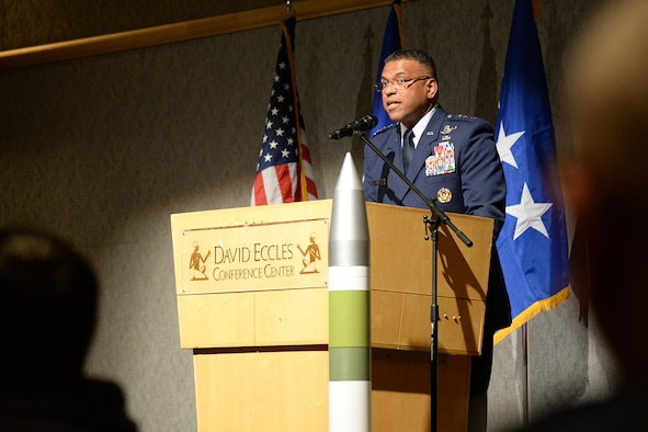 Lieutenant Gen. Richard M. Clark, deputy chief of staff for, Strategic Deterrence and Nuclear Integration, addresses guests at the 30th Annual Air Force Association Brent Scowcroft awards banquet held at the Eccles Conference Center in Ogden, Utah, March 21, 2019. (U.S. Air Force photo by Alex R. Lloyd)