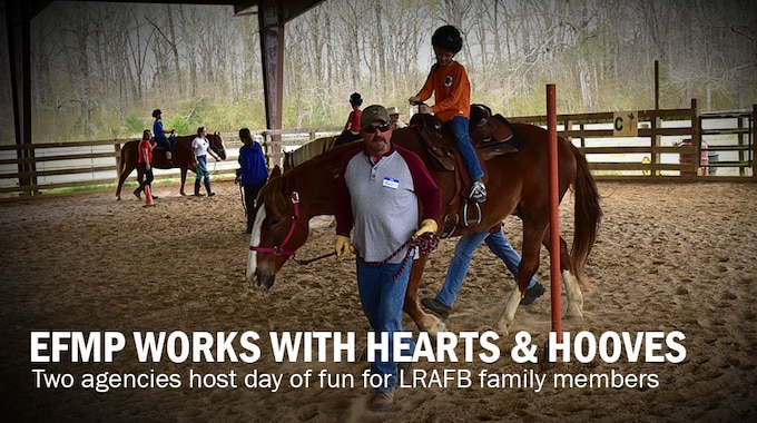 Graphic with adults leading children on horseback around a riding ring.