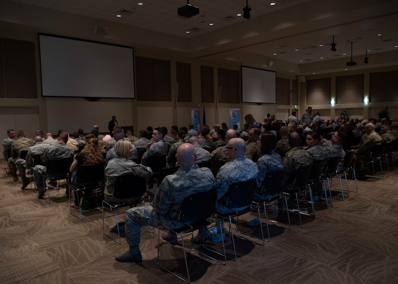 Team Buckley came together to remember Capt. Lance Sijan at a viewing of a documentary of his life at the Leadership Development Center March 27, 2019. Capt. Sijan died January 22, 1968, and was the first Air Force Academy graduate to receive the Medal of Honor. (U.S. Air Force photo by Senior Airman Codie Collins)