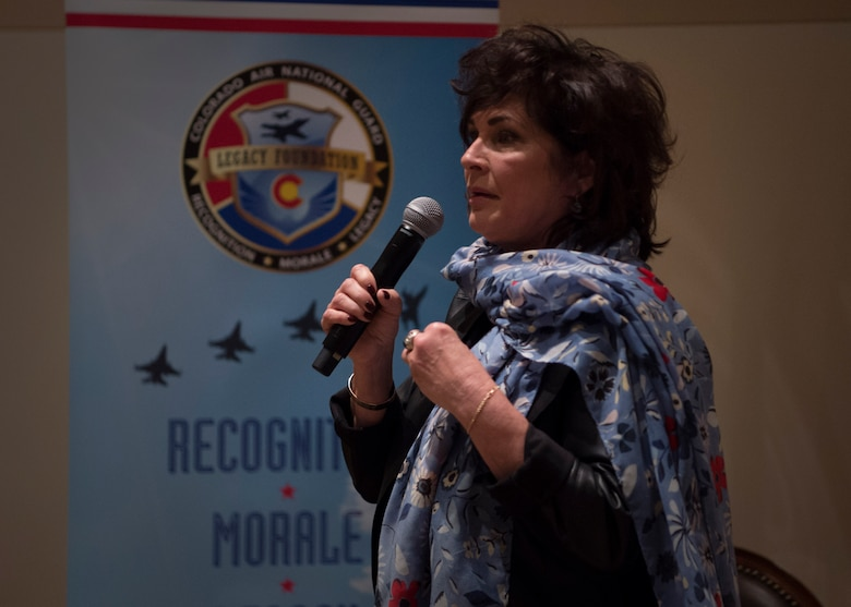 Janine Sijan,Capt. Lance Sijan's sister, speaks to Team Buckley about her brother's life at the Leadership Development Center on Buckley Air force Base March 27, 2019.Capt. Sijan died January 22, 1968, and was the first Air Force Academy graduate to receive the Medal of Honor. (U.S. Air Force photo by Senior Airman Codie Collins)