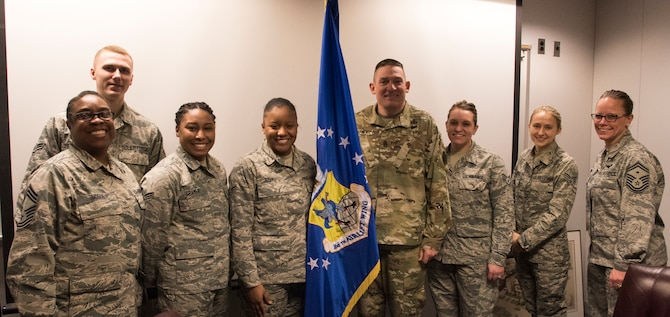 Command Sergeant Major Christopher Kepner, Senior Enlisted Advisor to the Chief, National Guard Bureau, meets with Airmen of the 166th Airlift Wing, March 1, 2019, at the New Castle Air National Guard Base, Del. During his visit, Kepner toured the base, its facilities and connected with Airmen. (U.S. Air National Guard Photo by Mr. Mitch Topal)