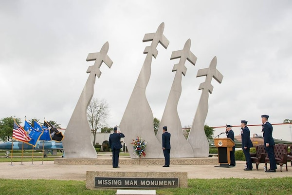 Military and community members gather at the Freedom Flyer Reunion wreath laying ceremony March 29, 2019 to honor prisoners of war and those missing in action, at Joint Base San Antonio-Randolph, Texas. The event honors all prisoners of war and missing in action service members from the Vietnam War.
