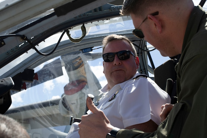 CDR Peter Kempster, a Foreign attaché with the Corps of Naval Attachés from New Zealand, sits in the cockpit of AH-1Z Viper aboard Marine Corps Air Station Kaneohe Bay, Mar. 21, 2019. The Foreign Naval Attachés Orientation Visit is an annual event hosted by the Chief of Naval Operations (CNO) and Commandant of the Marine Corps (CMC) for the Corps of Naval Attachés. The tour acquaints members from the Corps of Naval Attaches with training opportunities and capabilities of the Marine Corps and Navy. The MCBH visit exposed our Partner Nations to their roles and missions of U.S. Marine Corps Forces, Pacific, MCBH, 3rd Marine Regiment, Combat Logistics Battalion-3, and Marine Aircraft Group-24. (U.S. Marine Corps photo by Sgt. Alex Kouns)