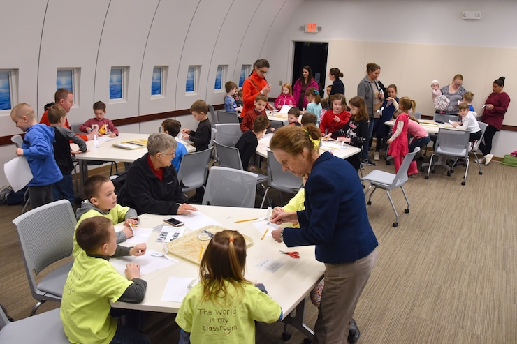 Students learning in the museum's Presidential STEM Learning Node
