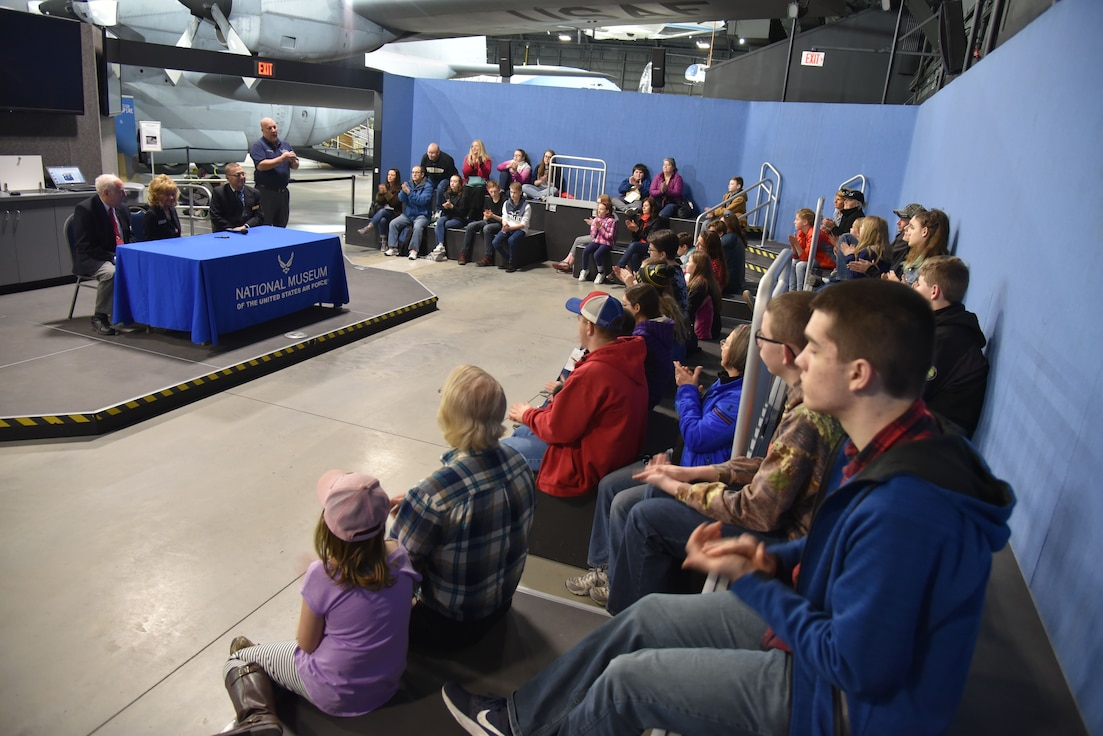 Students participating in Home School STEM Day on April 1, 2019, at the National Museum of the U.S. Air Force. Students enjoyed the guided tours, scavenger hunts, hands-on classes and aerospace demonstration stations. (U.S. Air Force photo)