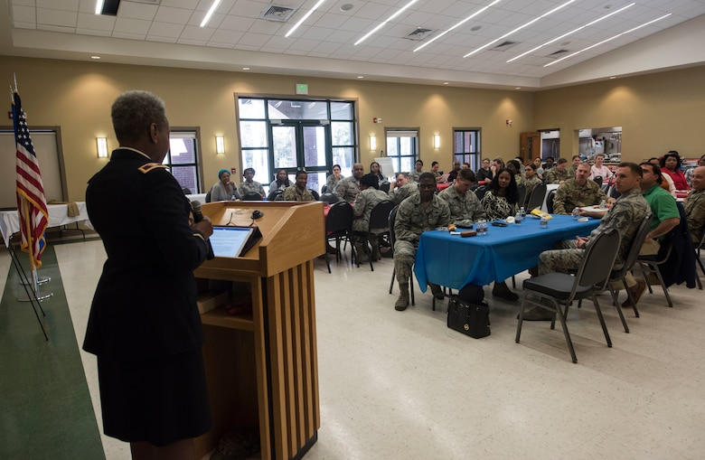 Col. Mary L. Martin, Defense Equal Opportunity Management Institute commandant, delivers a motivational speech to a Team Charleston crowd March 18, 2019, at Joint Base Charleston, S.C.