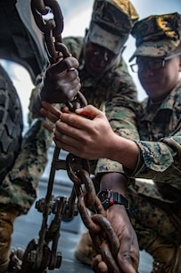 PacBlitz19 is designed to train Marines and Sailors in maritime prepositioning force operations and aims to increase proficiency, expand levels of cooperation and to enhance maritime capabilities. (U.S. Marine Corps photo by Cpl. Jacob A. Farbo)